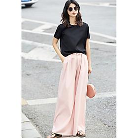 Tee-shirt Femme,Couleur Pleine Quotidien Décontracté simple Manches Courtes Col Arrondi Coton