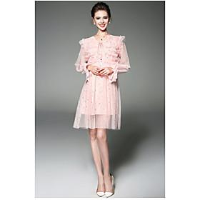 Ample Robe Femme QuotidienCouleur Pleine Points Ronds Col en V Au dessus du genou Manches Longues Polyester Eté Taille Haute