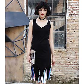 Ample Robe Femme Décontracté / QuotidienCouleur Pleine A Bretelles Midi Polyester Eté Taille Haute Micro-élastique Fin