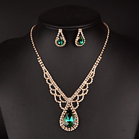 Women's Drop Earrings Choker Necklaces Bridal Jewelry Sets Synthetic Emerald..