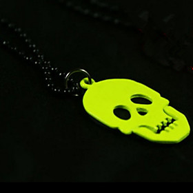 Halloween Jewelry Pendant Necklaces Punk Skull Fluorescent Color Long Korean..