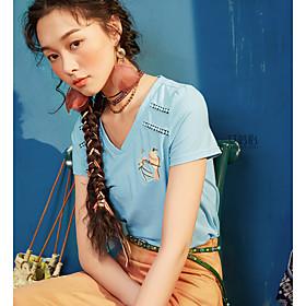 Tee-shirt Femme,Couleur Pleine Imprimé Broderie Décontracté / Quotidien Vintage simple Manches Courtes Col en V Coton