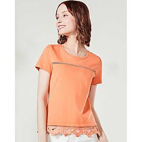 Tee-shirt Femme,Couleur Pleine Décontracté / Quotidien simple Manches Courtes Col Arrondi Coton Polyester