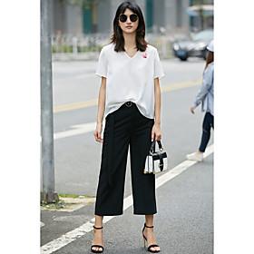 Tee-shirt Femme,Fleur Quotidien Décontracté simple Manches Courtes Col en V Polyester