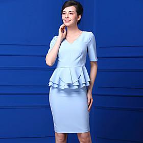 Chemise Jupe Costumes Femme,Couleur Pleine Décontracté Hérissé Eté Col en V Micro-élastique