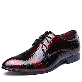 Men's Formal Shoes Leather Spring / Fall British Oxfords Walking Shoes Black / Red / Blue / Wedding / Party  Evening / Split Joint / Party  Evening / Printed O