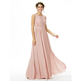 1f55a3d519a5 Linea-A Con decorazione gioiello Lungo Chiffon Vestito da damigella con  Fascia   fiocco in