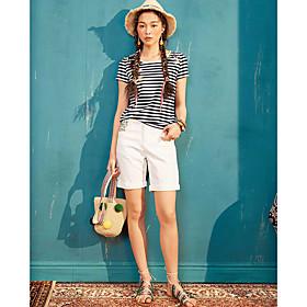 Tee-shirt Femme,Rayé Décontracté / Quotidien simple Manches Courtes Col Arrondi Coton Polyester