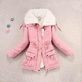 Image of 10 Colors New Women's Winter Jacket Women Cotton Candy Color Parkas Jackets Winter Hooded Jacket Fashion Girls Padded Slim Long Coat Jackets Plus Size
