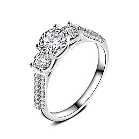 Women's Ring Classic Elegant Platinum Cubic Zirconia Ring Jewelry For Weddin..