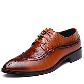Men's Formal Shoes Leather Spring / Fall British Oxfords Walking Shoes Black / Brown / Red / Wedding / Party  Evening / Split Joint / Party  Evening / Fashion
