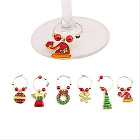 1Set Christmas Wine Glass Decoration Charms Party New Year Cup ring Table Decorations Xmas Pendants 6037230