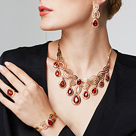 Women's Synthetic Ruby Cut Out Jewelry Set - 18K Gold Plated, Rhinestone Flo..