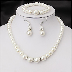Women's Jewelry Set Imitation Pearl Include Bridal Jewelry Sets White For Wedding Party Special Occasion Anniversary Birthday New Baby / Graduation / Engagemen