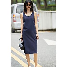 Ample Robe Femme Décontracté / Quotidien Couleur Pleine Col Arrondi Midi Sans Manches Polyester Eté Taille Normale Non Elastique Fin