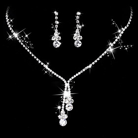 Women's AAA Cubic Zirconia Jewelry Set - Cubic Zirconia, Silver Drop Simple Style, Elegant Include Drop Earrings Choker Necklace Bridal Jewelry Sets Silver For