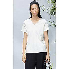 Tee-shirt Femme,Couleur Pleine Quotidien Décontracté simple Manches Courtes Col en V Coton