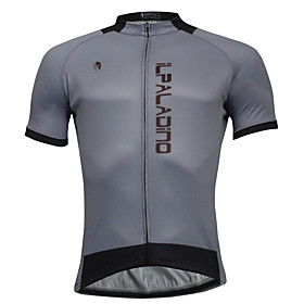 ILPALADINO Men's Short Sleeves Cycling Jersey - Gray Bike Jersey, Quick Dry, Spring Summer, Polyester Coolmax 6167460