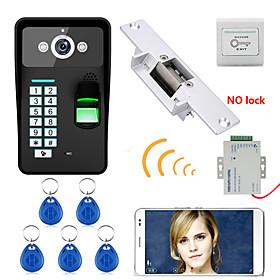 720P Wireless WIFI RFID Password Fingerprint Recognition  Video Door Phone Doorbel Intercom System  Electric Strike Lock