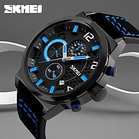 Homme Montre De Sport / Montre Militaire / Montre Smart Watch Chinois Calendrier / Creatif / Cool Vrai Cuir Bande Charme / Decontracte / Mode Bayadere / Grand