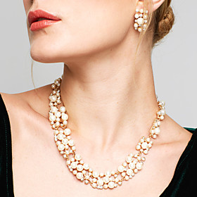 Women's Jewelry Set - Pearl, Rhinestone European, Fashion, Elegant Include Drop Earrings Pearl Necklace White / Coffee For Wedding Party Daily