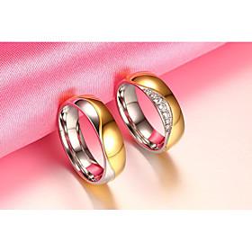2PCS Couple's  Rings  Circular Vintage Elegant AAA Cubic Zirconia Titanium S..