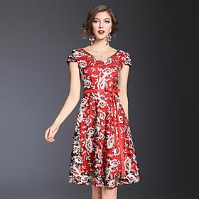Gaine Robe Femme Soirée Sortie Vintage Chinoiserie Sophistiqué,Fleur Col en V Au dessus du genou Manches Courtes Polyester EtéTaille