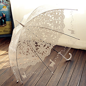 Transparency Pink and White Lace Wedding Umbrella Princess Parasols Photography Prop Decoration 6037096
