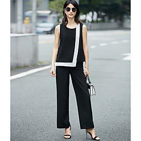 Manches Ajustées Pantalon Costumes Femme,Couleur Pleine Quotidien Décontracté Moderne Eté Sans Manches Col Arrondi