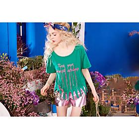 Tee-shirt Femme,Citations  Dictons Quotidien Décontracté simple Manches Courtes Col Arrondi Coton