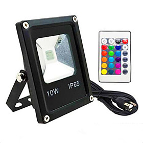 1pc 10 W LED Floodlight Waterproof / Remote Controlled / Dimmable RGB 85 265 V Outdoor Lighting / Courtyard / Garden 1 LED Beads
