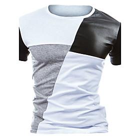 Men's Active Cotton Slim T-shirt - Color Block Round Neck Black  White 6012386