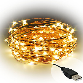 1PCS 10M USB-5V 100Led Waterproof Decoration LED Copper Wire Lights String for Christmas Festival Wedding Party Patio Decorative Lights