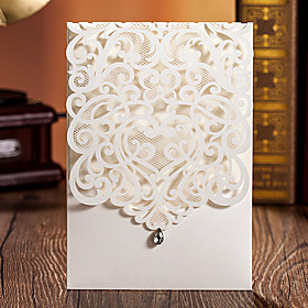 Wrap Pocket Wedding Invitations 50 - Invitation Cards Classic Style Embossed Paper
