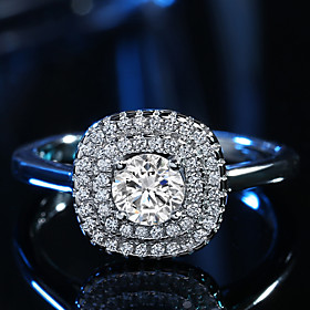 Women's Ring Classic Elegant  AAA Cubic Zirconia Platinum Plated Square Ring..