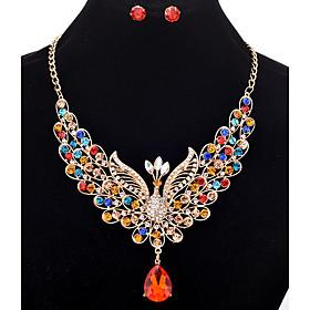Stud Earrings Pendant Necklaces Chain Necklaces Women's  Rhinestone Phoenix ..