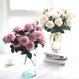 1 Branch Silk Polyester Roses Tabletop Flower Artificial Flowers