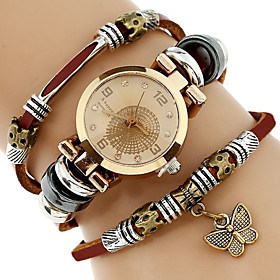 Genova Platinum Top Women Premium Genuine Leather Watch Triple Bracelet Watc..