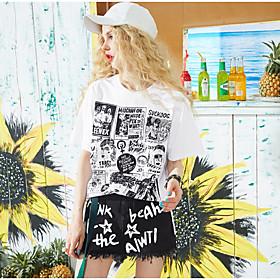 Tee-shirt Femme,Couleur Pleine Imprimé Citations  Dictons Quotidien Décontracté simple Manches Courtes Col Arrondi Coton Viscose