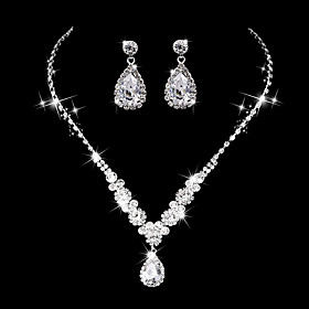 Women's AAA Cubic Zirconia Jewelry Set Cubic Zirconia Drop Luxury, Vintage, Elegant Include Drop Earrings Choker Necklace Bridal Jewelry Sets Silver For Weddin