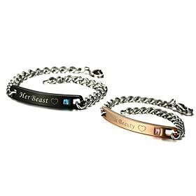 2PCS Couple's Chain Bracelet Titanium Steel AAA Cubic Zirconia Love Cute  Fa..