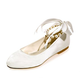 Women's Shoes Satin Spring / Summer Ballerina Wedding Shoes Flat Heel Round Toe Pearl / Ribbon Tie Blue / Champagne / Ivory