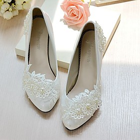 Women's Lace / Leatherette Spring / Fall Slingback Wedding Shoes Cone Heel / Low Heel Pointed Toe / Round Toe Imitation Pearl / Appliques / Flower White / Part