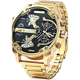 Men's Military Watch Chinese Calendar / Date / Day / Creative / Large Dial Stainless Steel Band Charm / Luxury / Casual Black / Gold