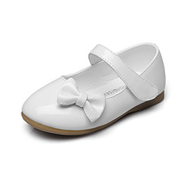 Girls' Shoes Leatherette Spring / Fall Comfort / Flower Girl Shoes Flats Bowknot / Magic Tape for Black / Red / Pink / Wedding