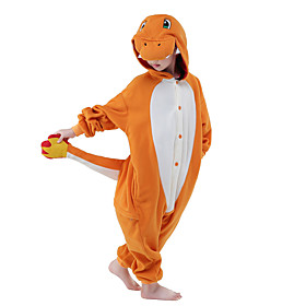 Kigurumi Pajamas Cartoon Dragon Onesie Pajamas Costume Polar Fleece Orange Cosplay For Kid Animal Sleepwear Cartoon Halloween Festival / 5494922