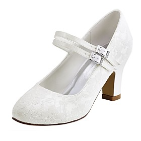 Women's Shoes Stretch Satin Spring / Fall Basic Pump Wedding Shoes Chunky Heel Round Toe Crystal White / Ivory / Party  Evening