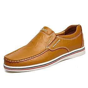 Men's Comfort Loafers Cowhide Summer / Fall Comfort Loafers  Slip-Ons Black / Dark Blue / Brown