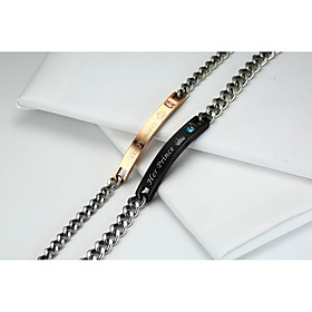 2PCS Couple's Chain Bracelet Titanium Steel AAA Cubic Zirconia Fashion Love ..