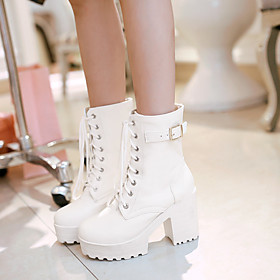 Women's Shoes PU(Polyurethane) Spring / Fall Comfort Boots Chunky Heel Round Toe White / Black / Brown